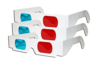 3D Glasses - Red and CYAN Anaglyph-3 Pair, White Multipack