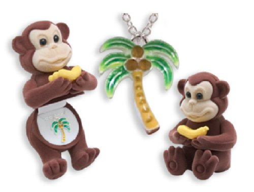 Palm Tree Crystal Necklace in Monkey w/ Banana Gift Box