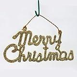 JOE 2 pcs Christmas Decorations Hanging Drop Hot Stamping Words Merry Christmas