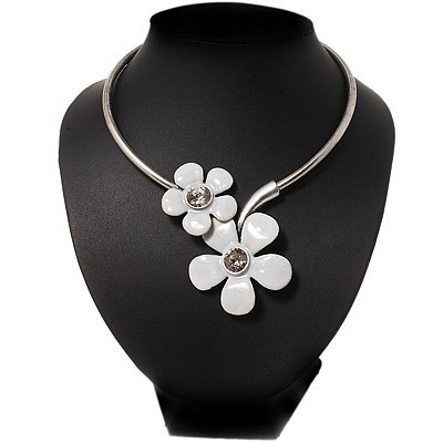 White Enamel Floral Choker Necklace In Silver Plated Metal