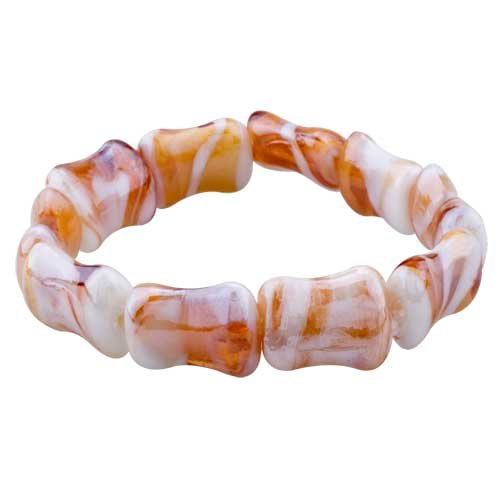 Pugster Brown Square Cute Murano Glass Bracelet