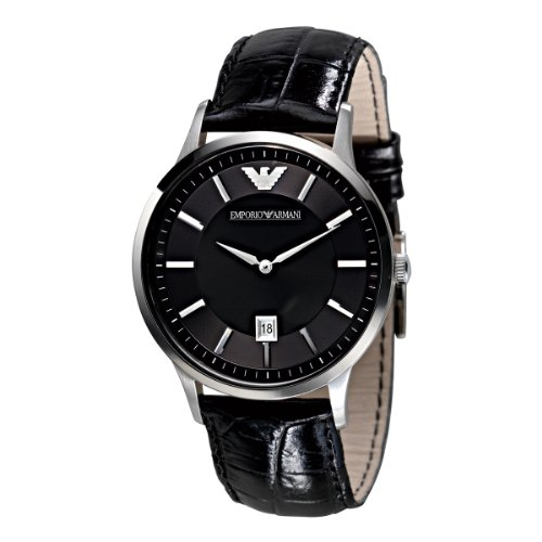 Emporio Armani Classic Collection Men's Quartz Watch with Black Dial Analogue Display and Black Leather Strap AR2411