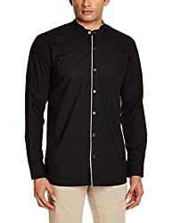 Raymond Men's Casual Shirt  (8907251812975_RISX00106-K8_Black_44_Black_44)