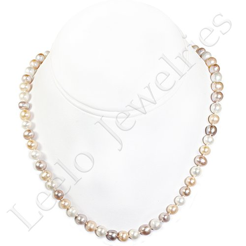 Fresh Water Pearl Necklace - approx. 17 inches (White/Cream/Light Purple)