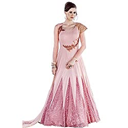 Latest Wize Marvelous Pink Poly Viscous And Net Embroidered Dress Material