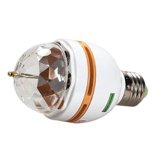 Vktech E27 Full Color Changing Rgb Led Sound Activated Rotating Stage Lamp Light Bulb