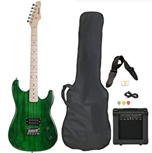 full size green electric guitar with amp case and accessories pack beginner starter. Black Bedroom Furniture Sets. Home Design Ideas