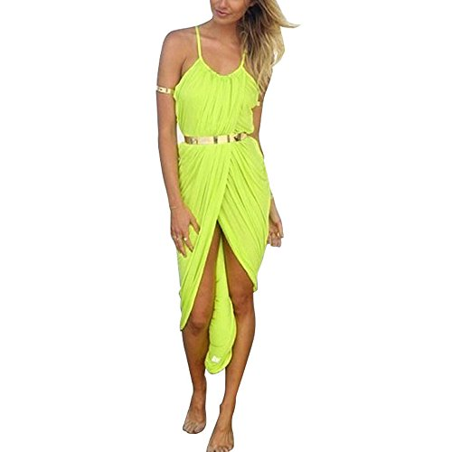 Tpt Sexy Women Strap Long Dress Summer Beach Boho Maxi Casual Sundress (S, Green)
