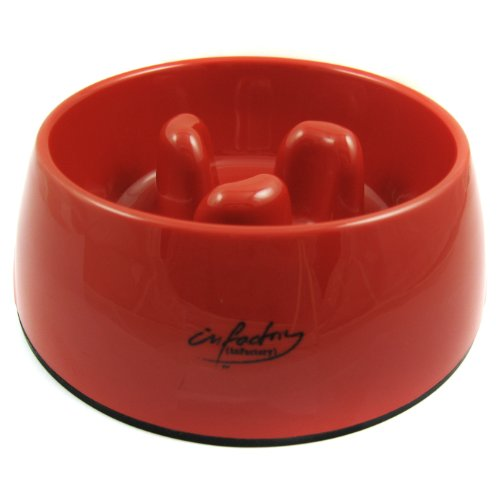 Slow-Eating Anti-Gulping Food Bowl (for Dogs & Cats) - Red, Medium