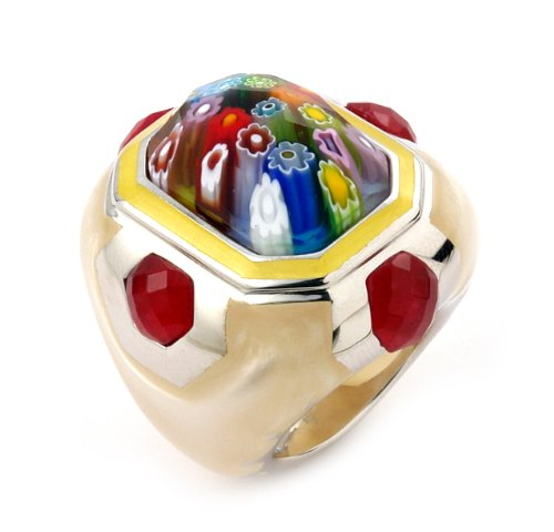 Millacreli Faceted Multi Color Murano Glass Rectangular Ring, Size 7
