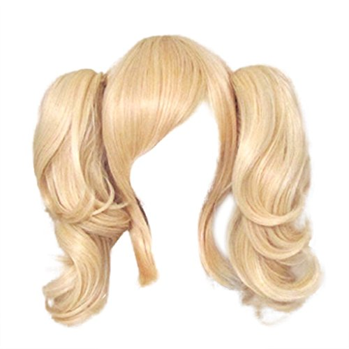 [iLoveCos Women's Costume Wigs 40cm Cosplay Wig with 2 Ponytails(Light Blonde)] (Blonde Pigtail Wig)
