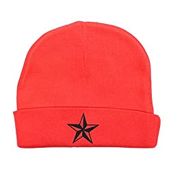 Crazy Baby Clothing Black Star Baby Beanie One Size in Color Red