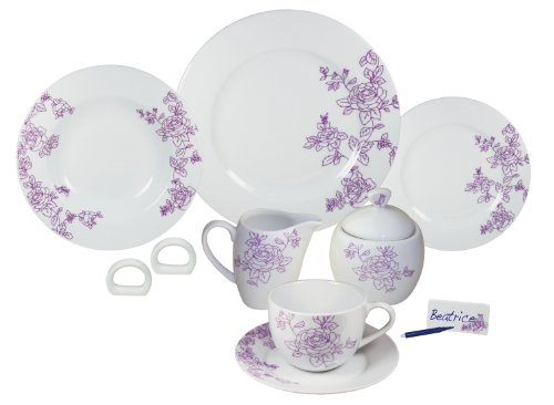 Arte Viva Arcadia 1143140 45-Piece Coffee and Dinner Service Porcelain Purple Designed by Francesca Mancini