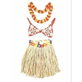 TIKI HULA GRASS SKIRT SET - ADULT - HAWAIIAN HULA OUTFIT