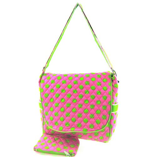 Cute! Quilted Large Cross Body Messenger Bag or Shoulder Purse Diaper or School Bag (Pink/Green)