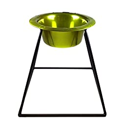 Platinum Pets Pyramid Diner Stand with 2-Cup Stainless Steel Bowl, Corona Lime