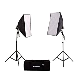 Flashpoint Two Light Softbox kit with Fluorescent Bulbs, Stands and Carrying Case