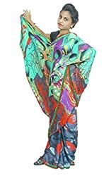 Aradhya Women's Multicolour Printed Crepe Saree with Blouse Piece