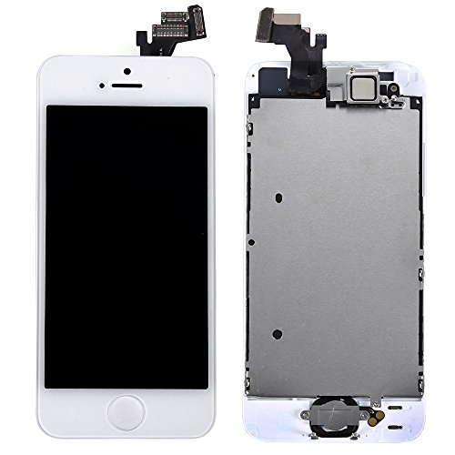 Generic New LCD Display Touch Screen With Digitizer Home Button Front Camera Replacement Part Assembly for Iphone 5 (White) (Iphone 4 Replacement Camera Front compare prices)