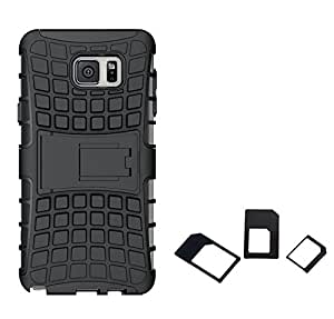 Chevron Hybrid Military Grade Armor Kick Stand Back Cover Case for Samsung Galaxy Note 5 with Multi Sim Adapter (Black)