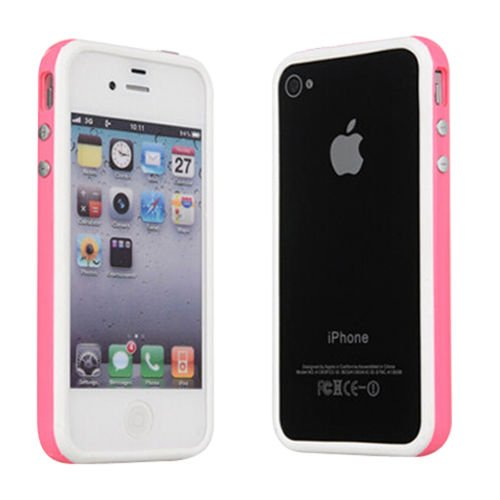 Ultra Quality Iphone 4 4G 4S Pink White TPU Bumper Frame Rubber Case Cover W_ Metal Buttons for iPhone 4 4G 4S by TB1 Products ®