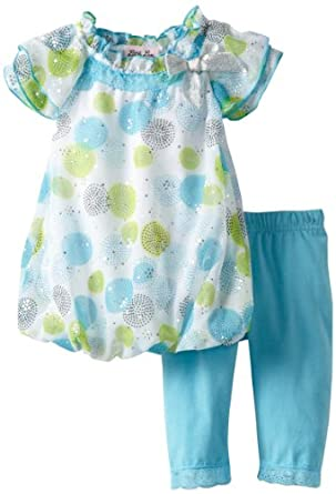 Little Lass Baby-Girls Infant 2 Piece Capri Set with Dots, Turquoise, 12 Months