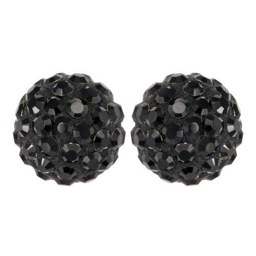 Ornami Glamour 9ct Yellow Gold 8mm Ladies' Black Crystal Ball Stud Earrings