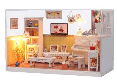 Big Dollhouse Miniature Diy Wood Frame Kit With Light Model Sweet Promise Gift Ldollhouse48-D67