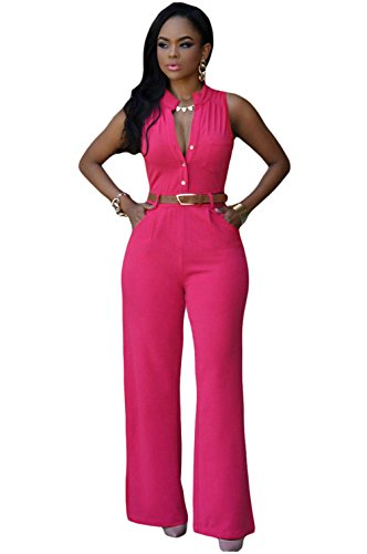 DH-MS Dress Women's Belted Wide Leg Jumpsuit Rosy (Lil Girls Prom Dresses compare prices)