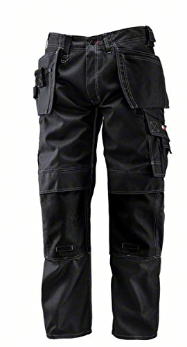"""Bosch Professional, Pantaloni professionali con tasconi - 618800328, larghezza fianchi 36"""", lunghezza gamba 32"""", colore: Nero"""