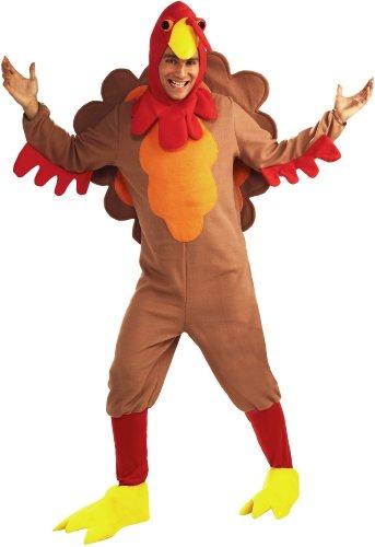 Forum Novelties Men's Adult Fleece Turkey Costume, Brown/Yellow/Red, Standard