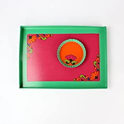 A Krazy Mug: Hand painted Tray Set - Durga Puja /// painted tray, tray set , serving tray , trays decorative , kitchen trays