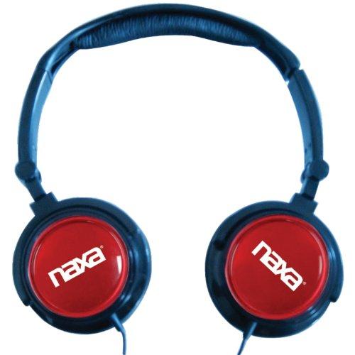 Naxa Electronics Ne-926Rd 2-In-1 Combo Super Bass Stereo Headphones And Earphones, Red