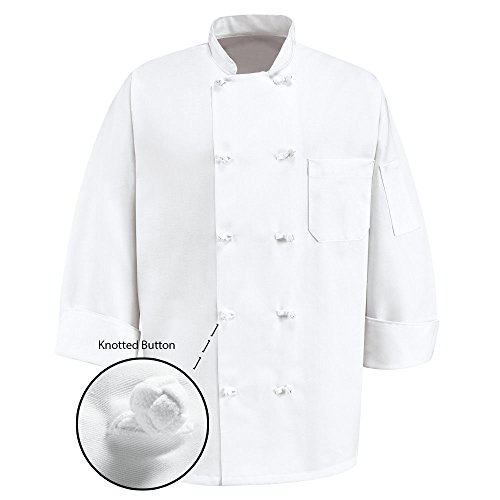 350 Chef Apparel 10 Knot Button Chef Coat-Easy-Care Twill - White size-large