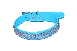 """Pet Palace SMALL BELLA BLUE """"Diva Doggy"""" Leather Diamante Jewelled Dog Puppy Collar (Small (10.5-13 inch neck) FREE FLASHING LED CHRISTMAS COLLAR TAG!"""