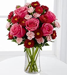 FTD Precious Heart Flower Bouquet - Roses and Carnations - 11 stems with vase