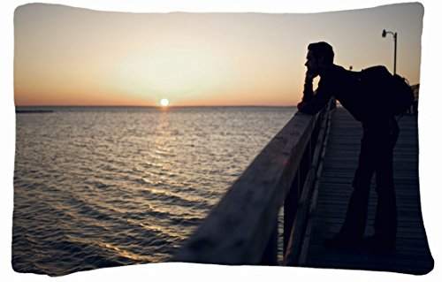 Queen Size Microfiber Peach Decorative Pillowcase -Nature Decline Piers Bridge Images Person Sea Silhouette Guy Horizon front-779754