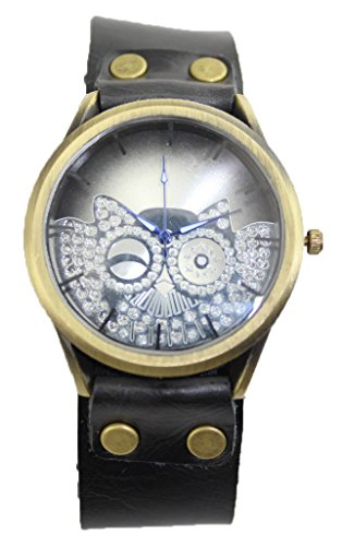 R.M. Fashion Lady Weave Leather Wrap Around Bracelet Watch,Owl (Black) front-792120