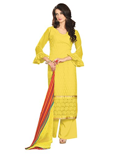 Riti Riwaz Exclusive Yellow Faux Georgette Designer semi stitched Salwar Suits RS1007