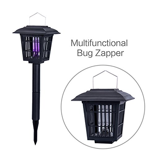 YIER Solar-Powered Outdoor Insect Killer / Bug Zapper / Mosquito Killer- Hang or Stick in the Ground - Dual Modes - Bug Zapper & Garden Light Function