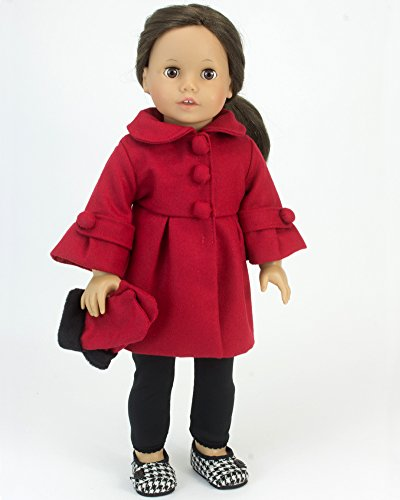 2 Piece Red Dress Coat 3/4 Sleeve & Long Fur Trim Gloves fits 18 Inch Dolls