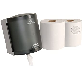 Georgia-Pacific SofPull 58205 Translucent Smoke Paper Towel Dispenser Trial Kit with 2 Rolls of Paper Towels