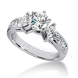 14K White Gold Round & Princess Cut Diamond Promise Engagement Ring (1.35ct.tw, HI Color, SI2-3 Clarity)