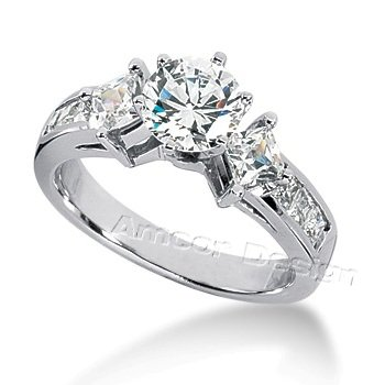 Diamond Engagement Ring 14K White Gold Round & Princess Cut