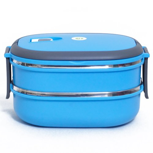 Stainless Steel Sealing Rectangle Shape Food Container Convenient Bento Lunch Boxes For School, Work And Travel (2 Layers, Blue)