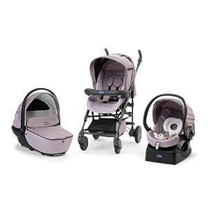 Chicco - Trio con capazo Living Smart, silla autofix grupo 0 + (Rose) 607926306 de Chicco