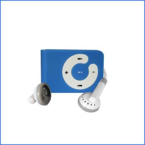 Blue Mini Clip Mp3 Player Support 8 GB Micro SD Card