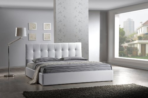 lit design en cuir lit double 160x200 cm blanc sommier inclus nantes. Black Bedroom Furniture Sets. Home Design Ideas