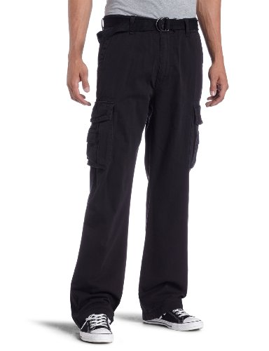 Unionbay Men's Cotton Twill Survivor Cargo Pant, Black Belt, 30x32