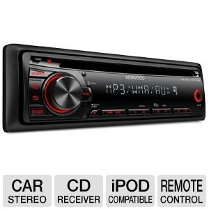 Kenwood Single-Din In-Dash Cd/Mp3/Wma Car Stereo Receiver W/ Remote Control, Detachable Face Plate, Am/Fm Tuner With 18Fm/12Am Presets, Front 3.5Mm Auxiliary Input & Red Illuminated Buttons, Black Finish